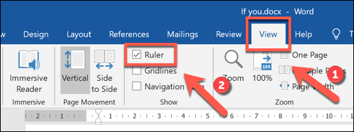 Click View > Ruler to enable the ribbon bar in Microsoft Word