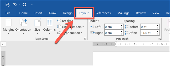 """In Word, select your block quote, then press the """"Layout"""" tab on the ribbon bar."""