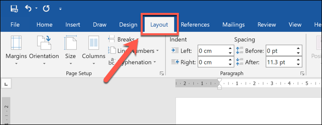 "In Word, select your block quote, then press the ""Layout"" tab on the ribbon bar."