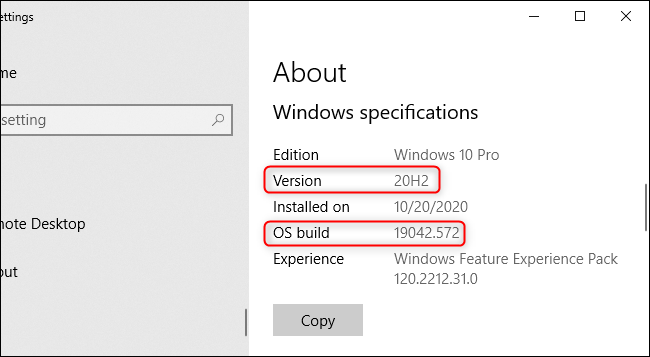 The Windows version number in the Settings app