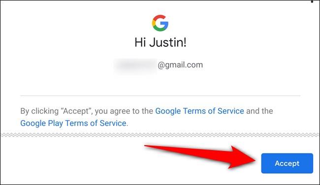 Acepta los términos de servicio de Google