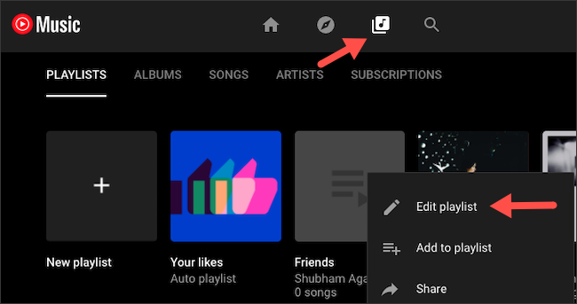 Add collaborators to YouTube Music playlist on website