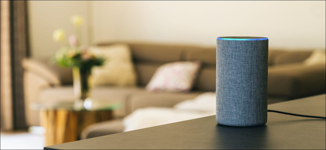 Amazon Echo smart speaker in a living room
