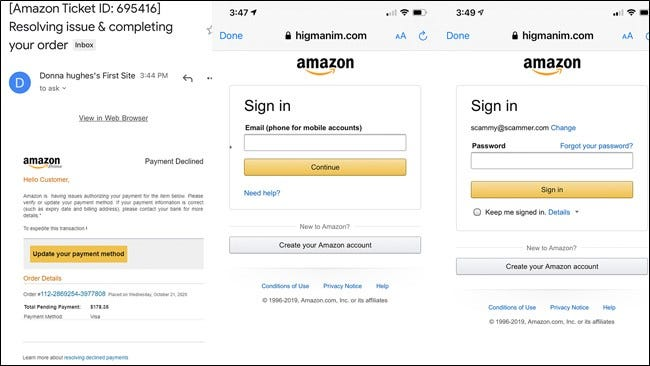 Amazon spam email and login screenshots