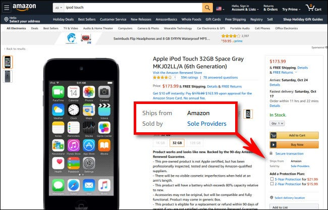 "A listing on Amazon for an iPod that ""Ships From Amazon,"" but is ""Sold By Sole Providers."""