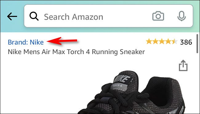 """Brand: Nike"" in a description for a pair of sneakers on Amazon."