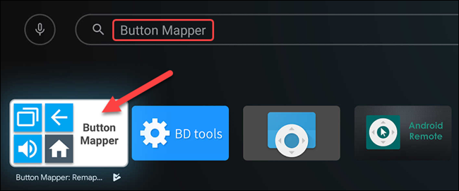 "Search for ""Button Mapper,"" and then select it when it appears."