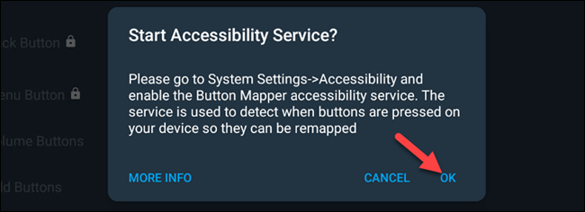 """Click """"OK"""" in the """"Start Accessibility Service?"""" prompt."""
