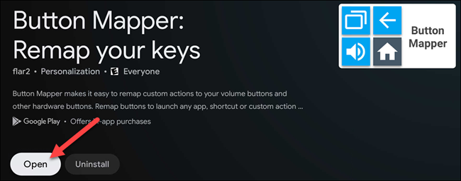 "Select ""Open"" to launch ""Button Mapper."""