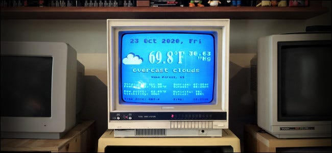 The Atari FujiNet Weather Program running on a vintage computer monitor.