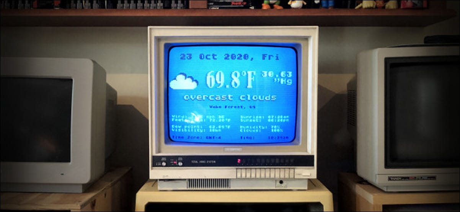 The Atari FujiNet Weather Program running on a vintage computer monitor.
