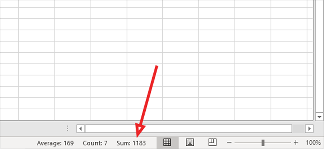 sum at bottom of excel