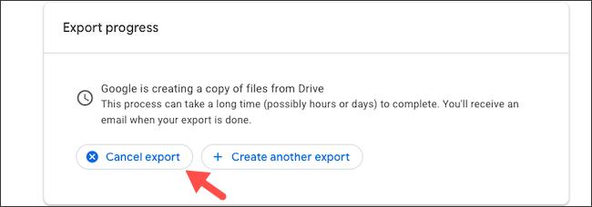 Cancel Google Drive data export