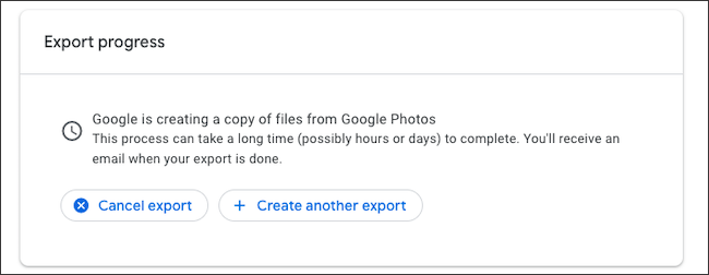 Cancel Google Photos backup export