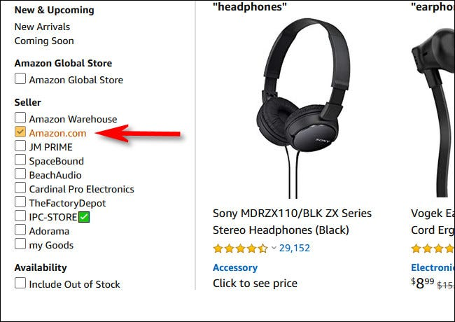 "Place a check mark beside ""Amazon.com"" in the seller section of the sidebar"