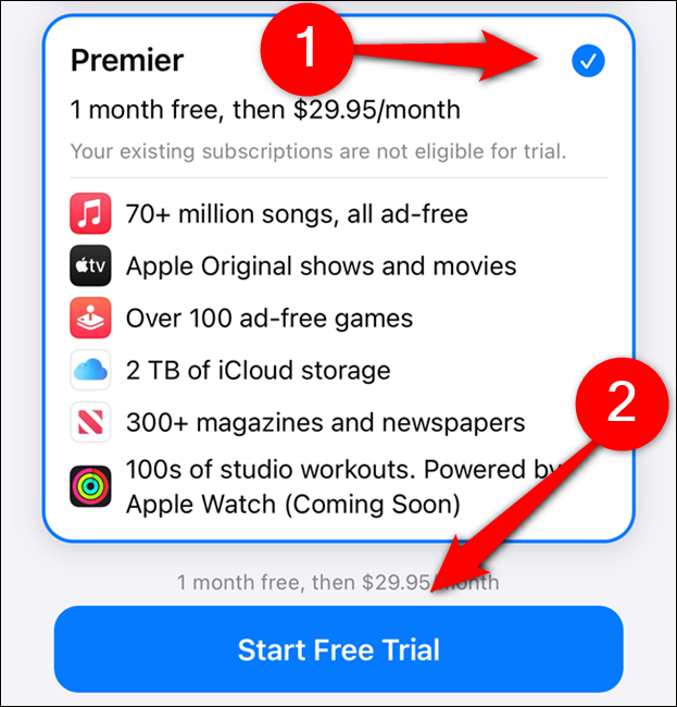 "Choose an Apple One plan and then select ""Start Free Trial"""