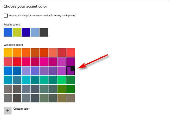 In Window Settings, choose your accent color from the grid.