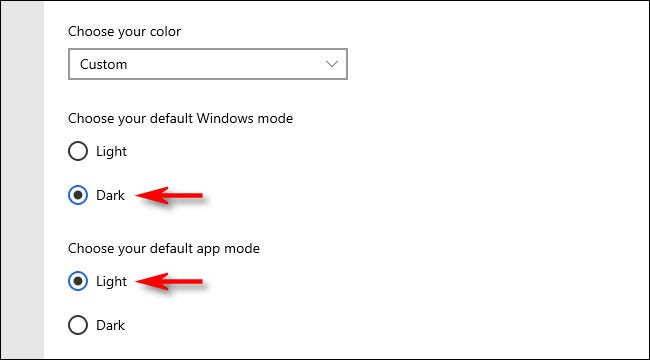 "In Colors settings, choose ""Dark,"" then choose ""Light."""