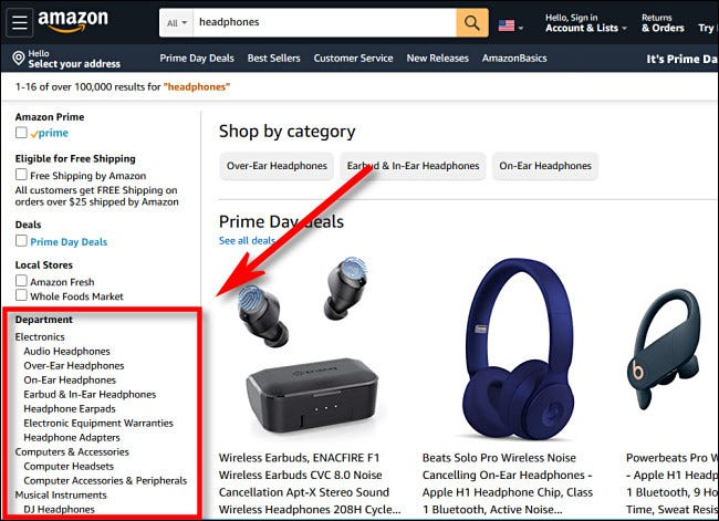 In the Amazon.com sidebar, choose a department