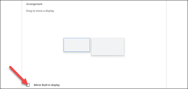 check the box for mirror built in display