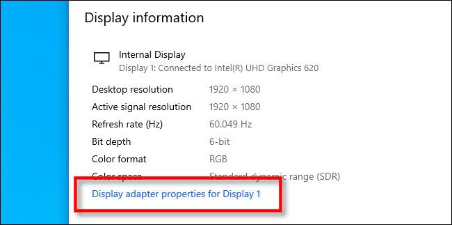 "Click ""Display adapter properties."""