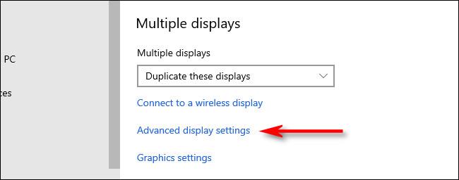 "Click ""Advanced display settings"""