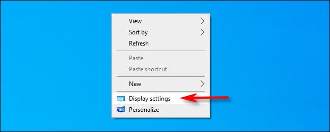 """Right-click the desktop and select """"Display settings."""""""