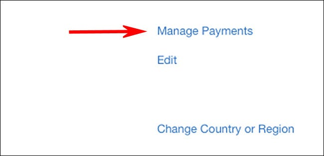 """Click """"Manage Payments."""""""