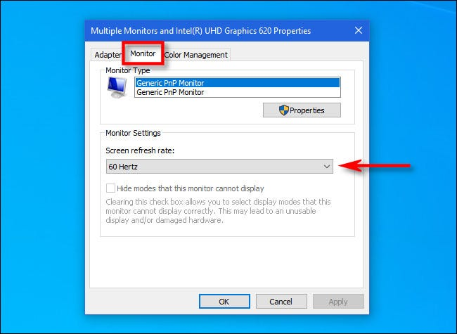 """In the display adapter settings, click the """"Monitor"""" tab and set the refresh rate."""
