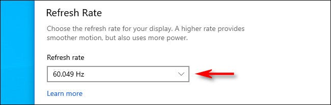 """Click the """"Refresh rate"""" drop-down menu and select the rate you'd like to use."""
