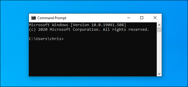Command Prompt window on Windows 10