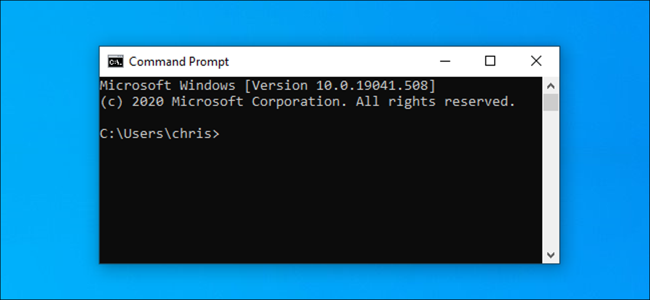 Command Prompt window on Windows 10