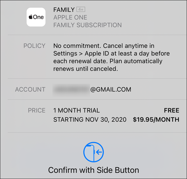 Confirm your Apple One subscription
