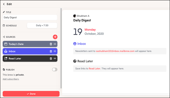 Create a personalized newsletter on Mailbrew