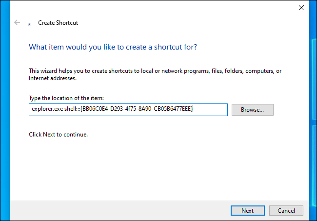 Enter the command into the Create Shortcut dialog