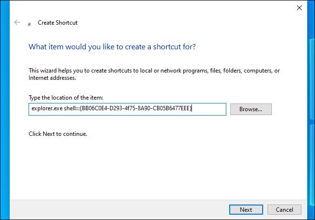 Enter the command into the Create Shortcut dialog