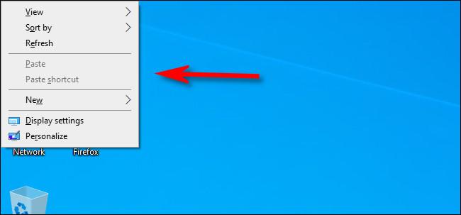 A context menu on a Windows 10 desktop.