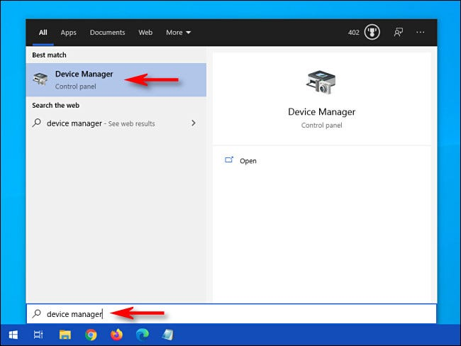 """Open the Start menu and type """"device manager,"""" then click the Device Manager icon."""