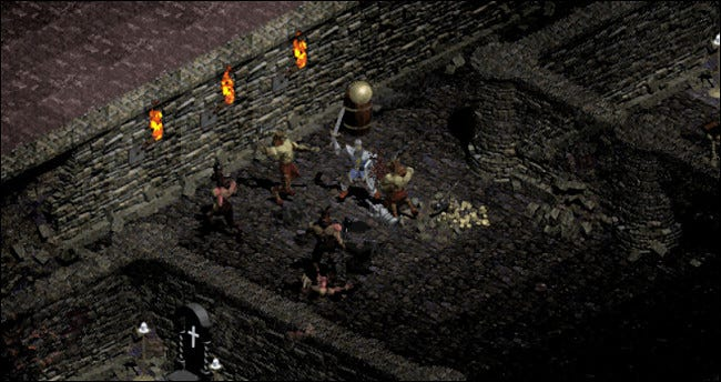 "A group of characters fighting with swords in ""Diablo."""