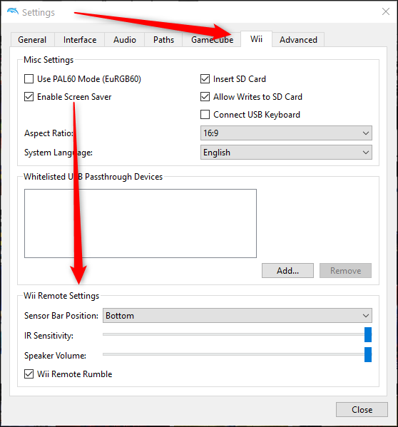 Wii remote settings in Dolphin
