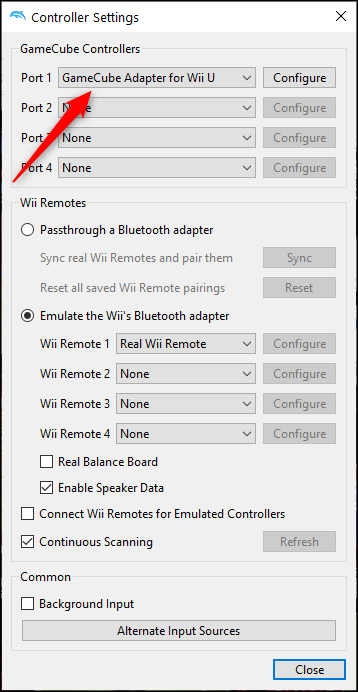 """Select the controller in the """"Port 1"""" box"""