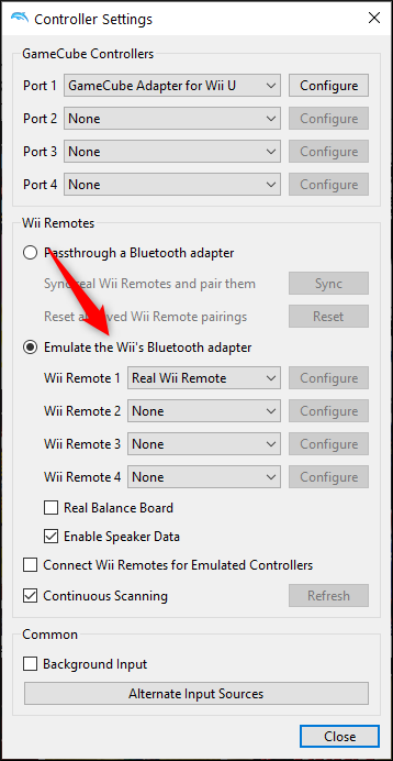 "Select ""Emulate the Wii's Bluetooth Adapter"" and select the Wii Remote"