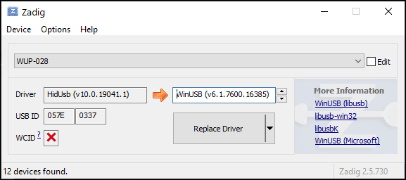 Replacing a driver in Zadig