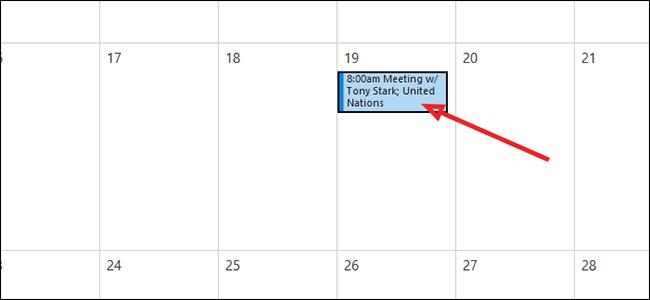 double click calendar entry