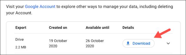 Baixe manualmente a exportação de dados do Google Drive