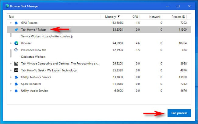 To force close a tab or process in Edge, select the tab or process and click