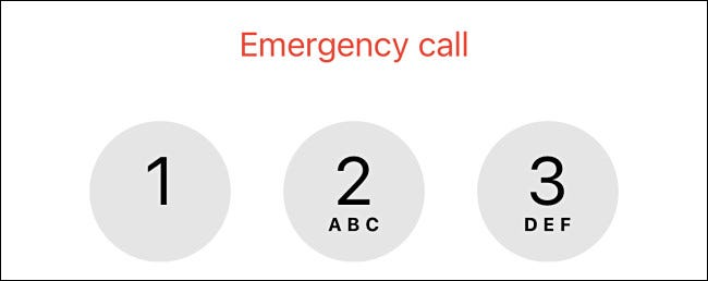 The emergency call screen on an iPhone