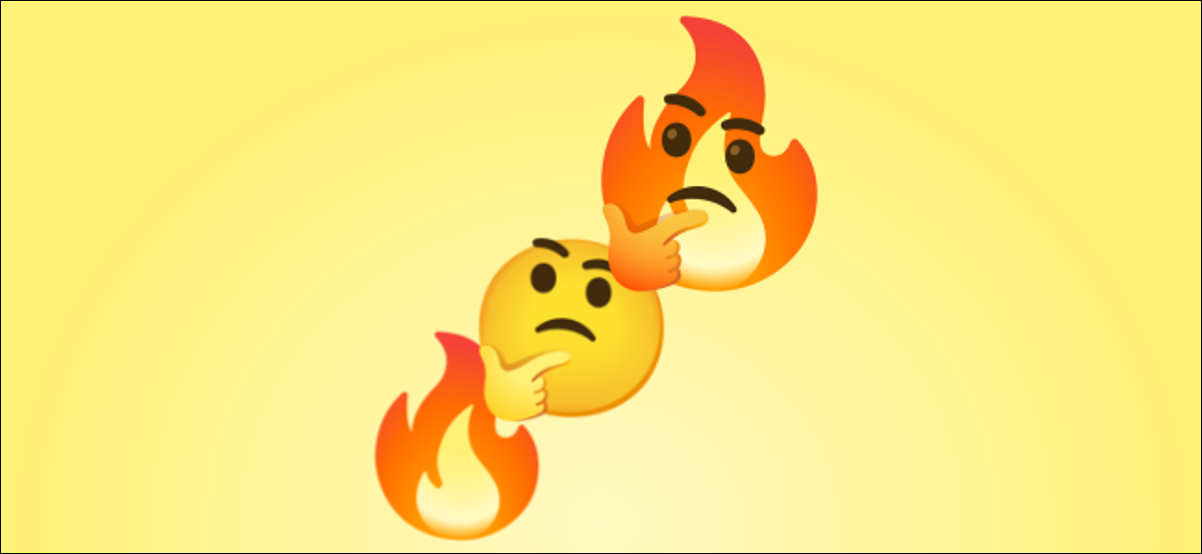 An emoji mash-up of fire and thinking.