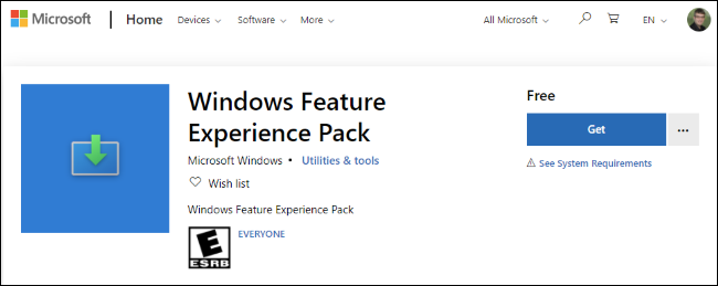 The Windows Feature Experience Pack in the Microsoft Store