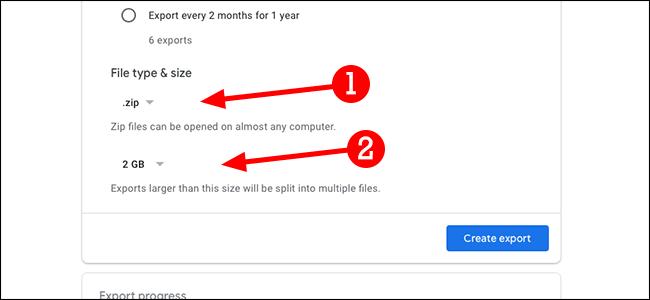 google takeout file type